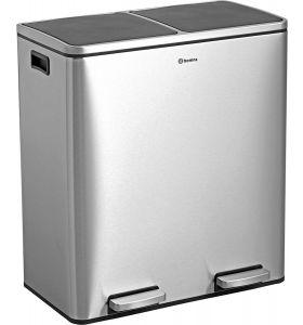Homra QUICKX afvalscheiding prullenbak - 2 vakken – 60L - RVS
