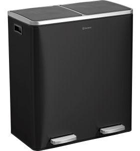 Homra QUICKX  afvalscheiding prullenbak - 2 vakken – 60L  - Zwart