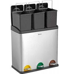Homra STEPHS afvalscheiding prullenbak - 3 vakken - 60L - RVS