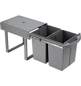 Homra Slide Inbouw Prullenbak - 2 vakken - 40L - Grijs