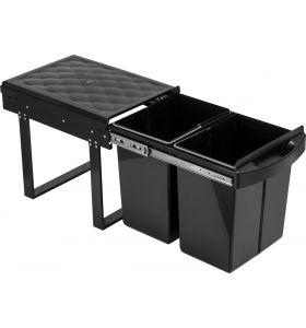 Homra Slide Inbouw Prullenbak - 2 vakken - 40L - Zwart