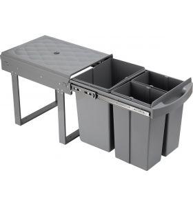 Homra Slide Inbouw Prullenbak - 3 vakken - 40L - Grijs