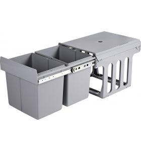 Homra Slide Inbouw Prullenbak - 2 vakken - 30L - Grijs
