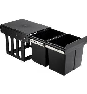 Homra Slide Inbouw Prullenbak - 2 vakken - 30L - Zwart