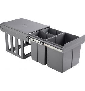 Homra Slide Inbouw Prullenbak - 3 vakken - 30L - Grijs
