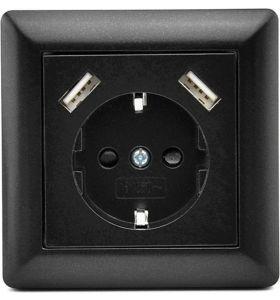 Homra Brock enkel USB Inbouw stopcontact - Zwart
