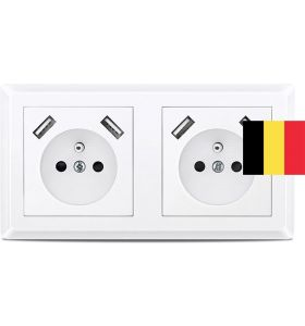 Homra Brock dubbel USB Inbouw stopcontact - Penaarde - Wit