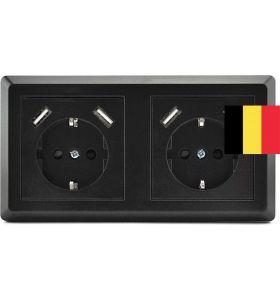 Homra Brock dubbel USB Inbouw stopcontact - Penaarde - Zwart