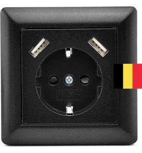 Homra Brock enkel USB Inbouw Stopcontact - Penaarde - Zwart