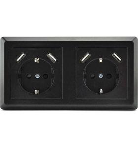 Homra Brock dubbel USB Inbouw stopcontact - Zwart