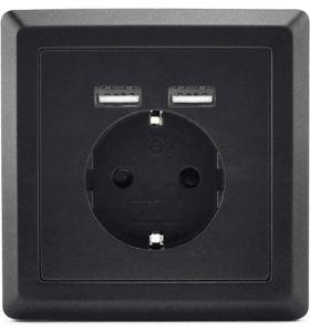 Homra Dakko enkel USB Inbouw Stopcontact - Zwart