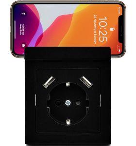 Homra Wondo USB Inbouw stopcontact - telefoonhouder - Zwart