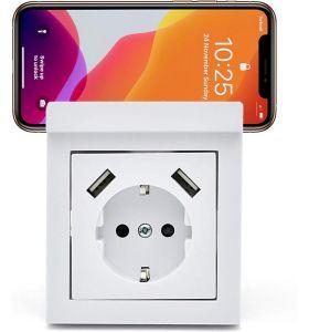 Homra Wondo USB Inbouw stopcontact - telefoonhouder - Wit
