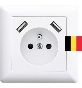 Homra Brock enkel USB Inbouw stopcontact - Penaarde - Wit