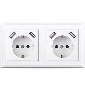 Homra Brock dubbel USB Inbouw stopcontact - Wit
