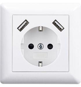 Homra Brock enkel USB Inbouw stopcontact - Wit