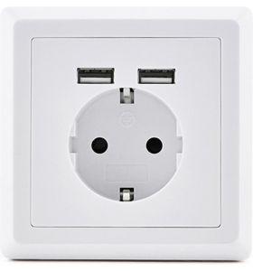 Homra Dakko enkel USB Inbouw stopcontact - Wit