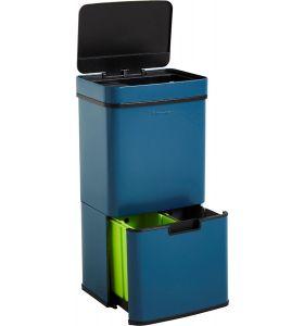 Homra NEXO Prullenbak met Sensor- 3 vakken – 72L - Blauw