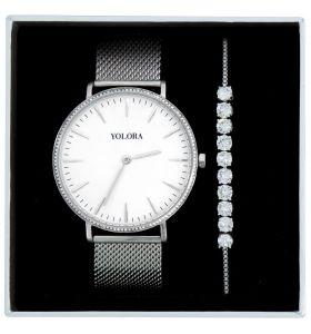 Yolora geschenkset met Kalpa Zirkonia kristallen - Zilver kleurig