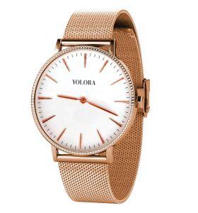 Yolora horloge met Kalpa Zirkonia kristallen - Roségoud kleurig