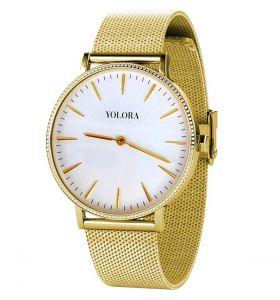 Yolora horloge met Kalpa Zirkonia kristallen - Goud kleurig
